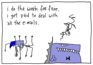 Meu trabalho é grátis. Eu ganho por gerir emails.