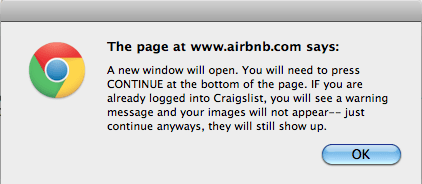 Postar na Craigslist através do Airbnb