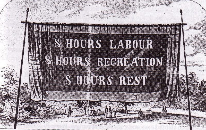 8 horas de trabalho; 8 horas de lazer; 8 horas de descanso.