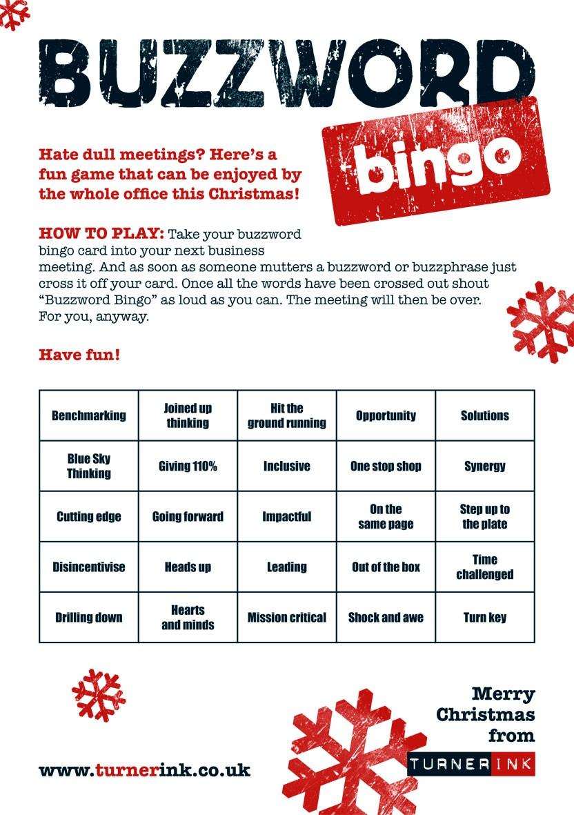 O buzzword bingo pode ser uma brincadeira divertida nas reuniões.