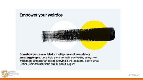 A Sprint Business Solutions dá um exemplo claro do que fazer com o seu tom de voz.
