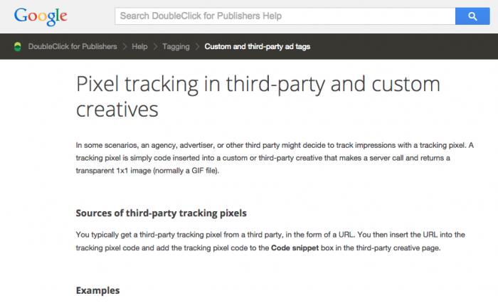 Página do Google com informações sobre o pixel de rastreamento.